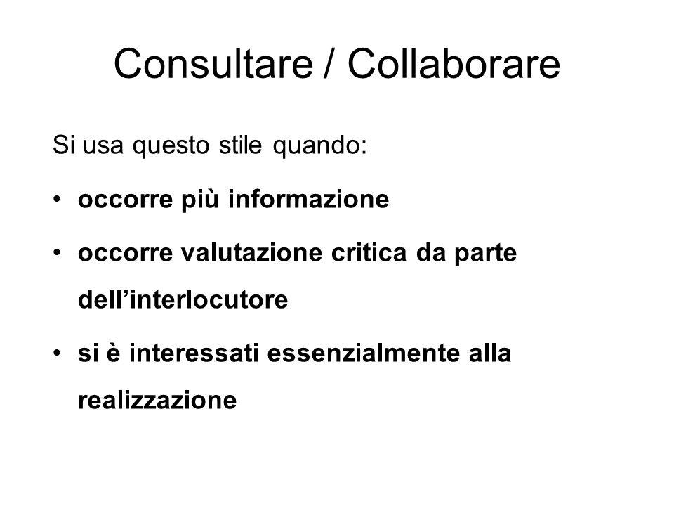 Consultare / Collaborare Si usa questo stile quando: occorre più informazione occorre valutazione critica da parte dellinterlocutore si è interessati