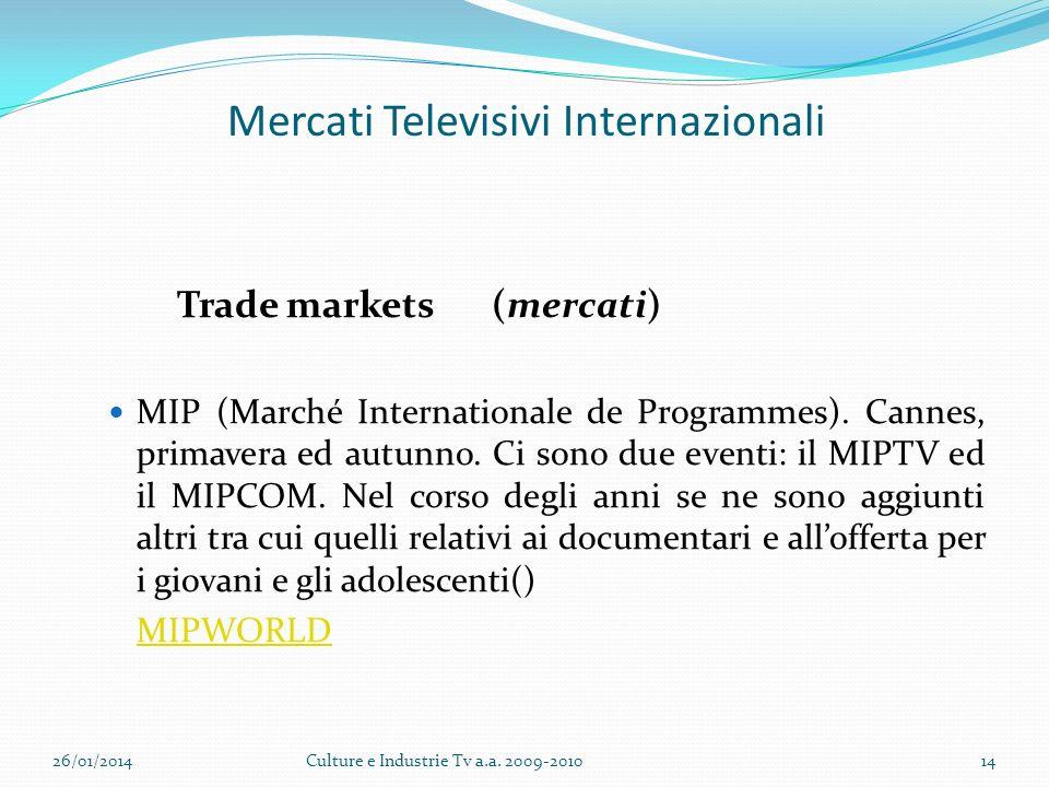 Mercati Televisivi Internazionali Trade markets (mercati) MIP (Marché Internationale de Programmes).