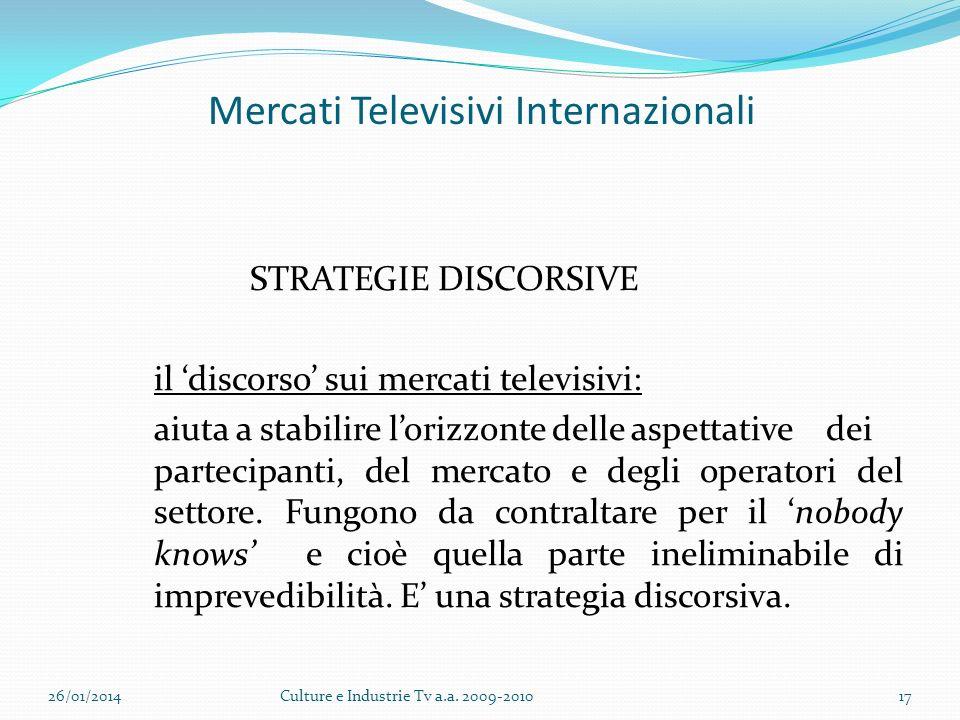 Mercati Televisivi Internazionali STRATEGIE DISCORSIVE il discorso sui mercati televisivi: aiuta a stabilire lorizzonte delle aspettative dei partecipanti, del mercato e degli operatori del settore.