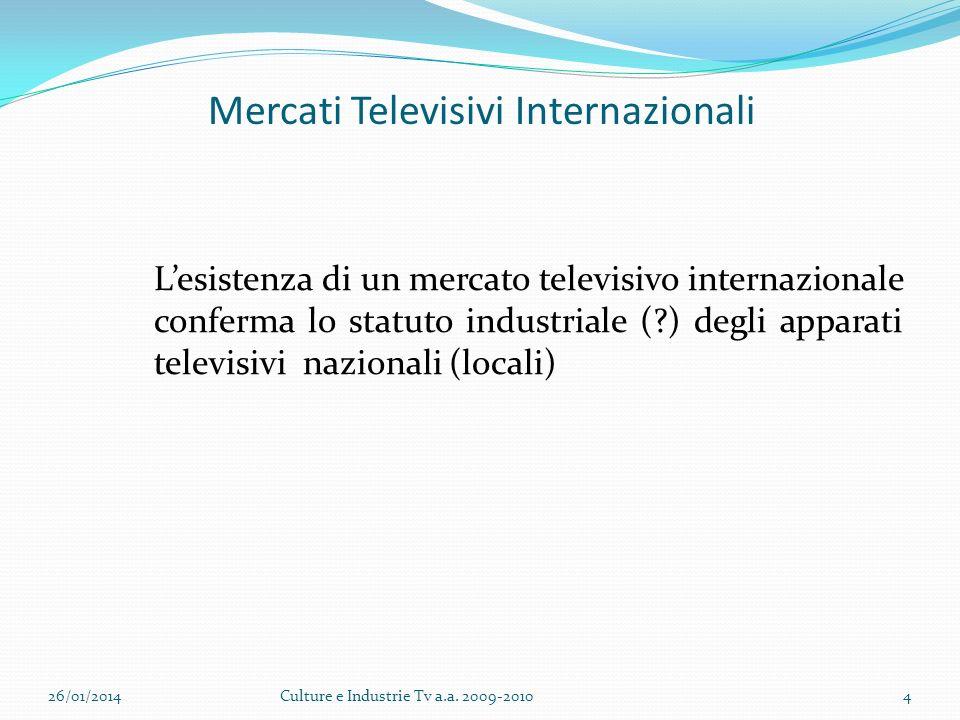 Mercati Televisivi Internazionali Lesistenza di un mercato televisivo internazionale conferma lo statuto industriale ( ) degli apparati televisivi nazionali (locali) 26/01/2014Culture e Industrie Tv a.a.
