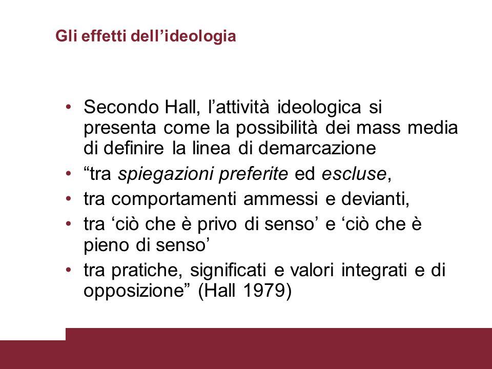 Gli effetti dellideologia Secondo Hall, lattività ideologica si presenta come la possibilità dei mass media di definire la linea di demarcazione tra s