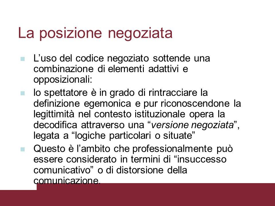 La posizione negoziata Luso del codice negoziato sottende una combinazione di elementi adattivi e opposizionali: lo spettatore è in grado di rintracci