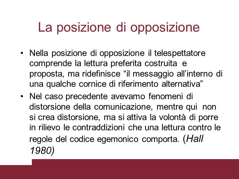 Nella posizione di opposizione il telespettatore comprende la lettura preferita costruita e proposta, ma ridefinisce il messaggio allinterno di una qu
