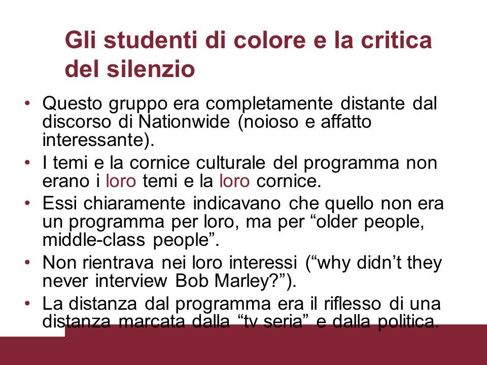 Gli studenti di colore e la critica del silenzio Questo gruppo era completamente distante dal discorso di Nationwide (noioso e affatto interessante).