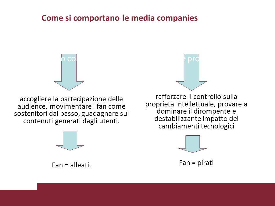 Come si comportano le media companies accogliere la partecipazione delle audience, movimentare i fan come sostenitori dal basso, guadagnare sui conten