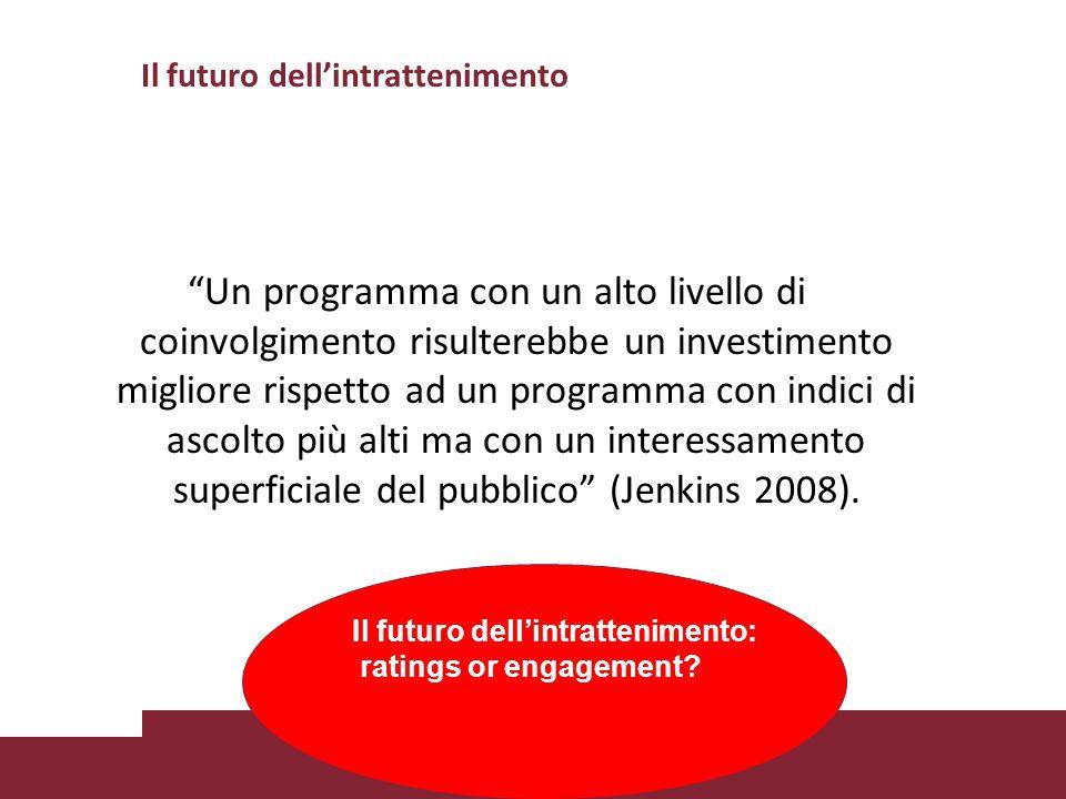 Il futuro dellintrattenimento Un programma con un alto livello di coinvolgimento risulterebbe un investimento migliore rispetto ad un programma con in