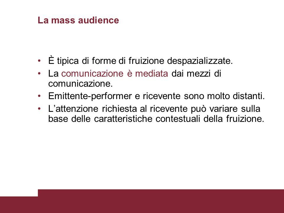 La mass audience È tipica di forme di fruizione despazializzate. La comunicazione è mediata dai mezzi di comunicazione. Emittente-performer e ricevent