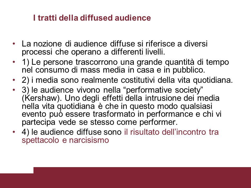 I tratti della diffused audience La nozione di audience diffuse si riferisce a diversi processi che operano a differenti livelli. 1) Le persone trasco
