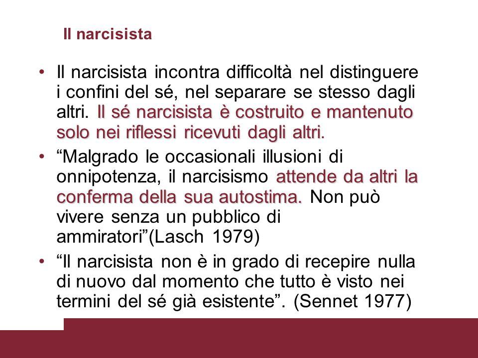 Il narcisista Il sé narcisista è costruito e mantenuto solo nei riflessi ricevuti dagli altriIl narcisista incontra difficoltà nel distinguere i confi