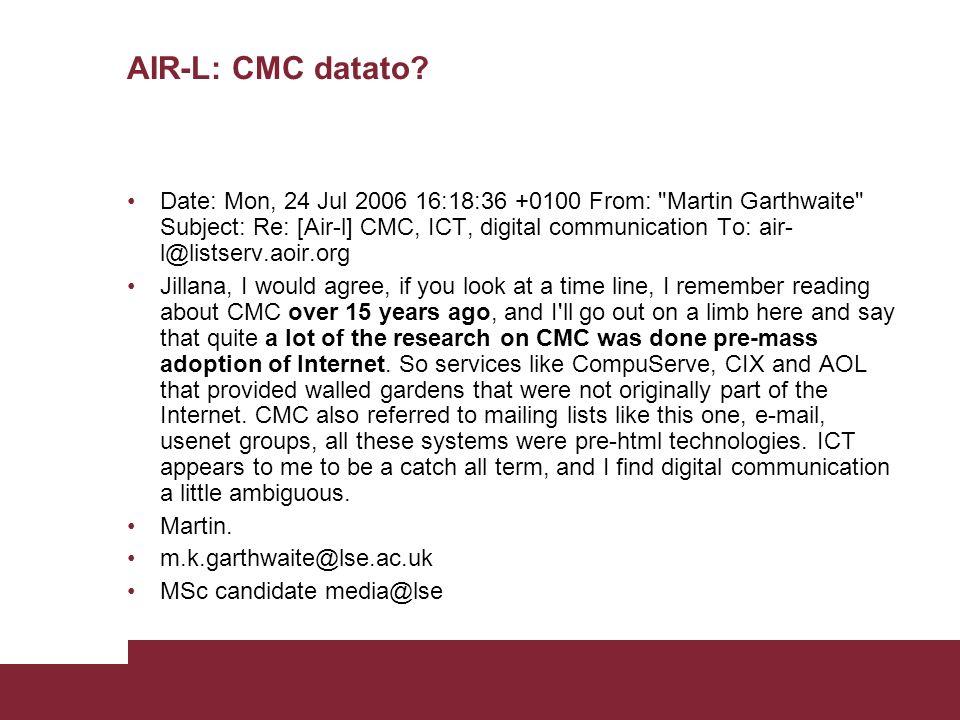 AIR-L: CMC datato.