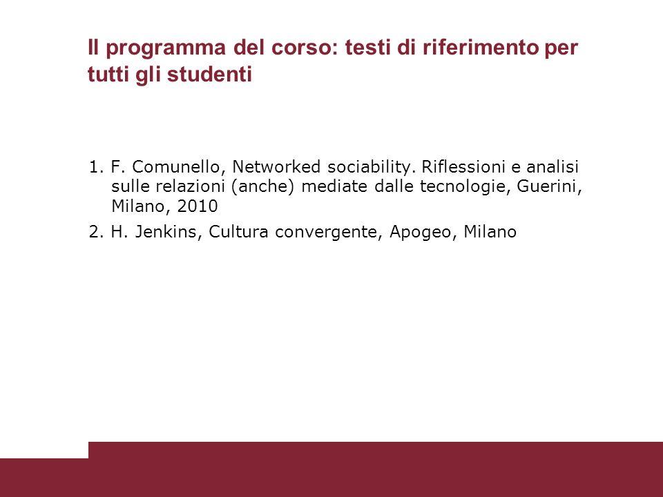 1. F. Comunello, Networked sociability.