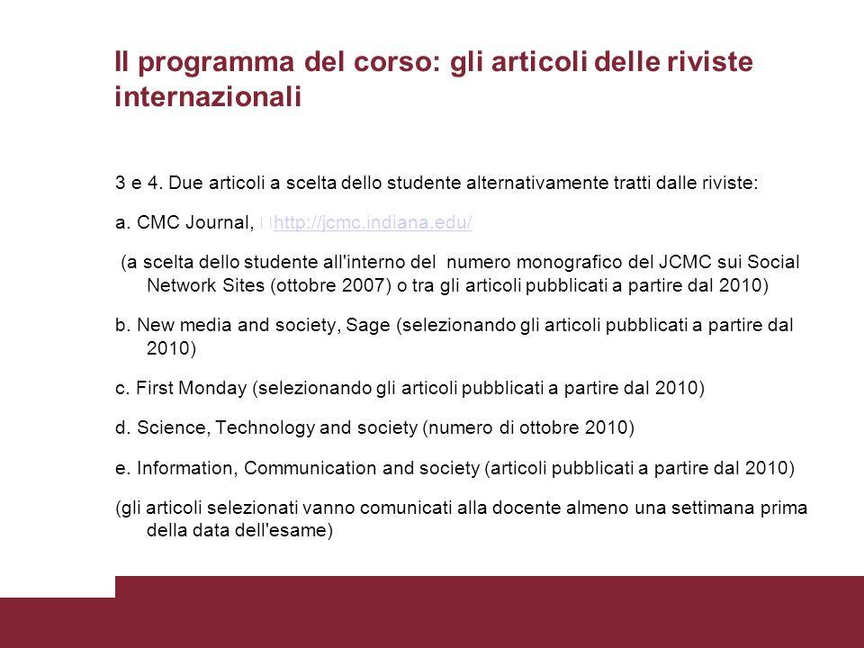 Il programma del corso: gli articoli delle riviste internazionali 3 e 4.
