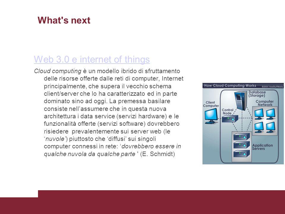 What s next Web 3.0 e internet of things Cloud computing è un modello ibrido di sfruttamento delle risorse offerte dalle reti di computer, Internet principalmente, che supera il vecchio schema client/server che lo ha caratterizzato ed in parte dominato sino ad oggi.