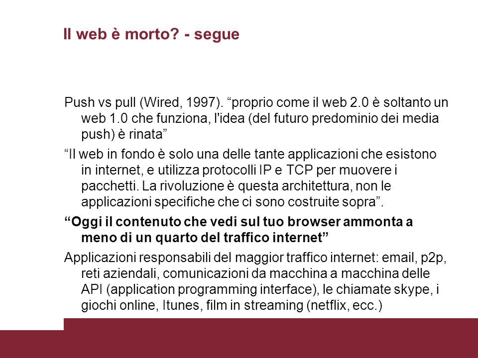 Il web è morto. - segue Push vs pull (Wired, 1997).