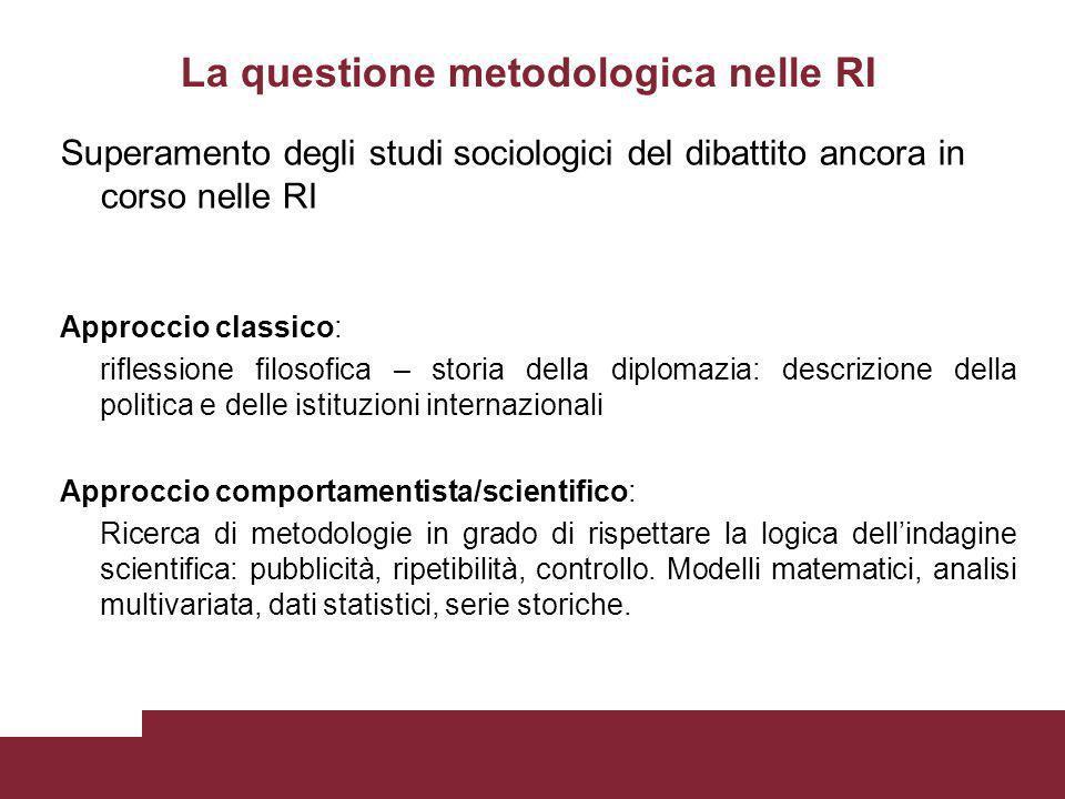 La questione metodologica nelle RI Superamento degli studi sociologici del dibattito ancora in corso nelle RI Approccio classico: riflessione filosofi