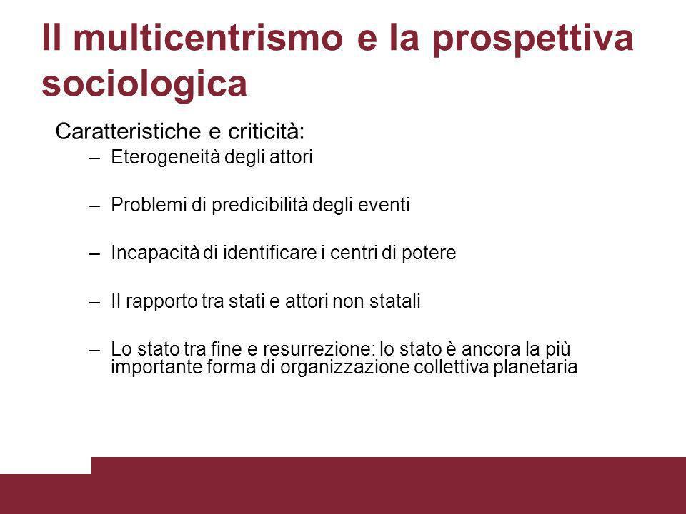 Il multicentrismo e la prospettiva sociologica Caratteristiche e criticità: –Eterogeneità degli attori –Problemi di predicibilità degli eventi –Incapa