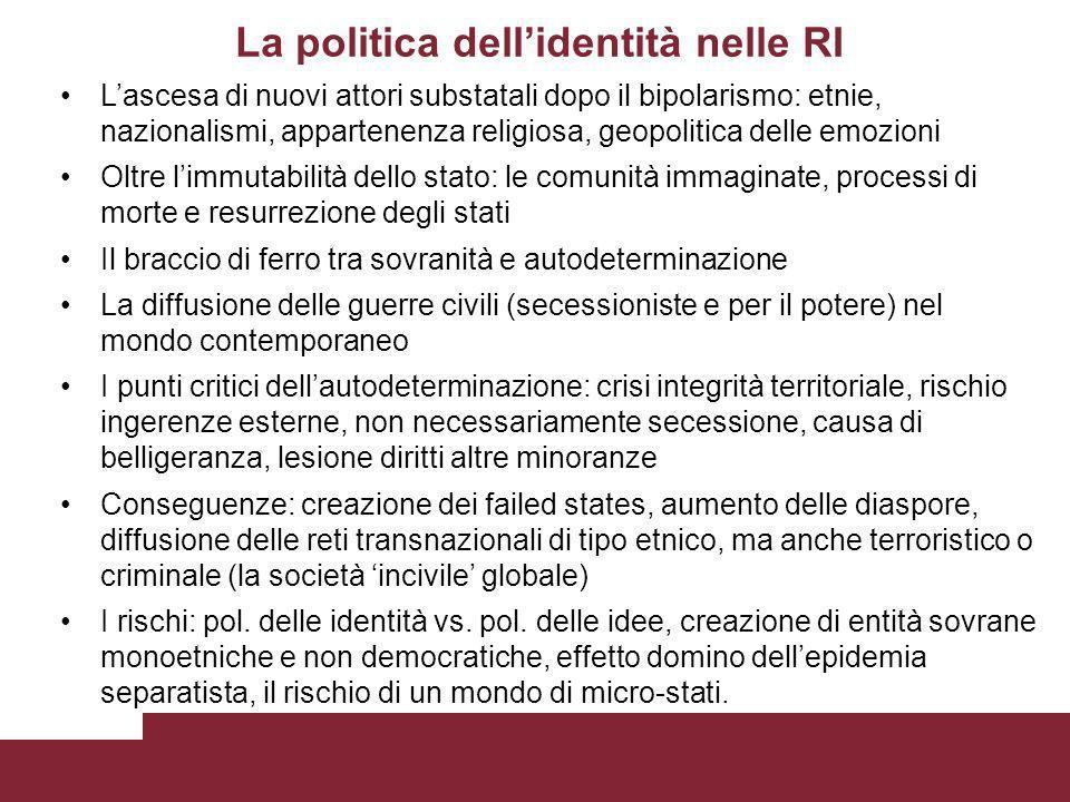 La politica dellidentità nelle RI Lascesa di nuovi attori substatali dopo il bipolarismo: etnie, nazionalismi, appartenenza religiosa, geopolitica del