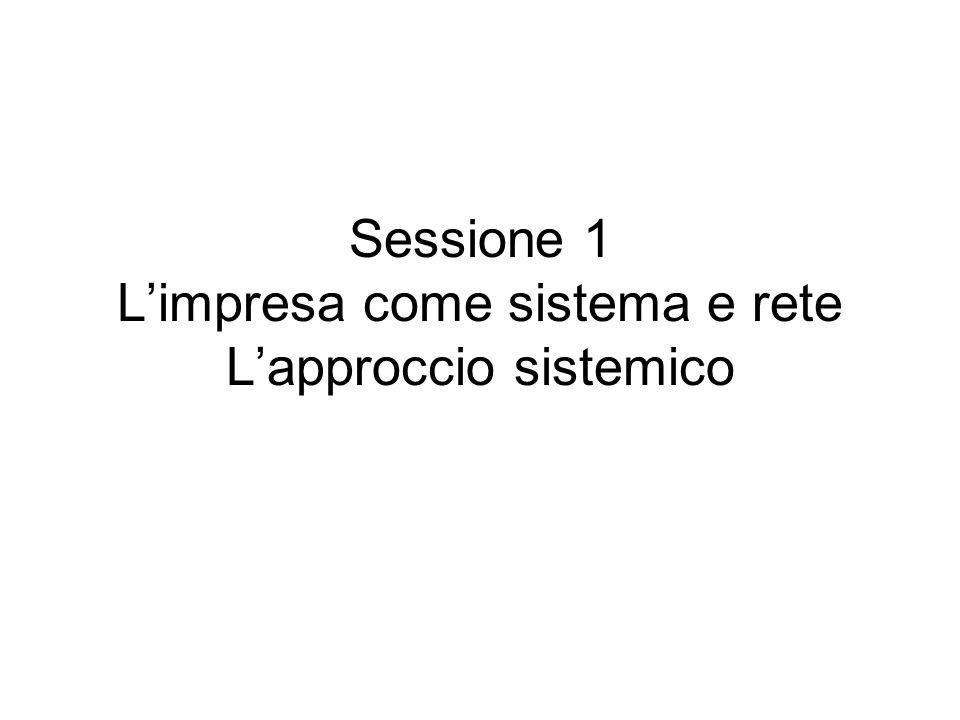Sessione 1 Limpresa come sistema e rete Lapproccio sistemico