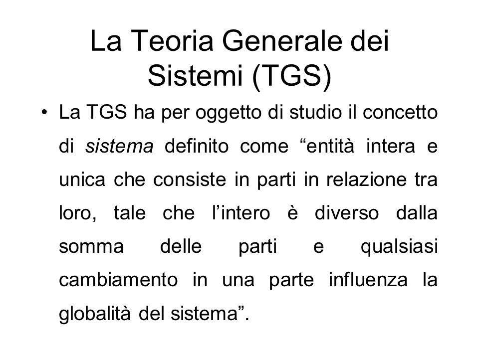 La Teoria Generale dei Sistemi (TGS) La TGS ha per oggetto di studio il concetto di sistema definito come entità intera e unica che consiste in parti in relazione tra loro, tale che lintero è diverso dalla somma delle parti e qualsiasi cambiamento in una parte influenza la globalità del sistema.