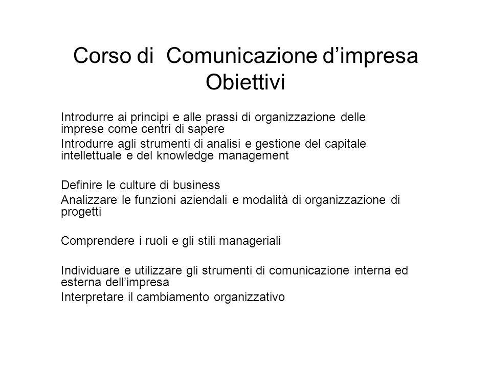 Quattro blocchi di insegnamento 1.Impresa e gestione delle conoscenze 2.