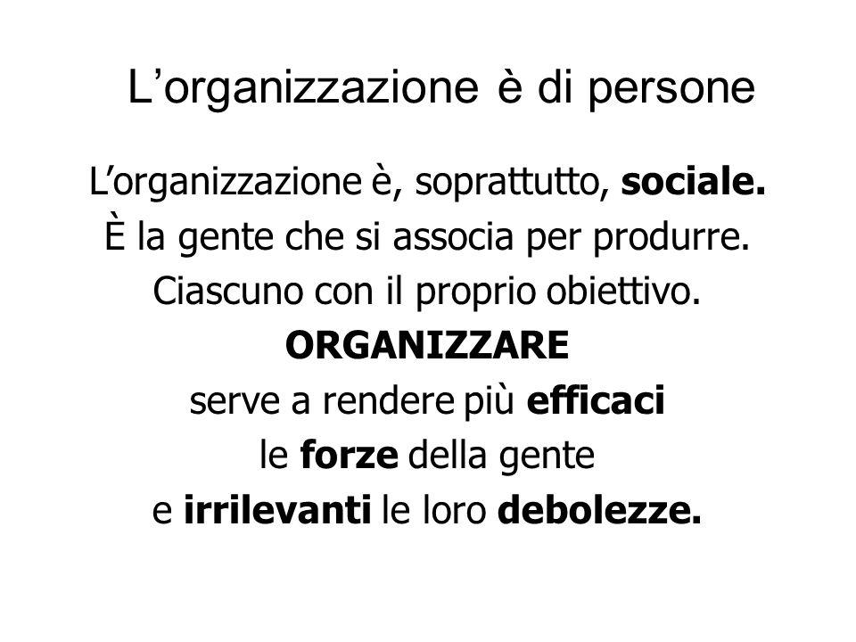 Lorganizzazione è di persone Lorganizzazione è, soprattutto, sociale.