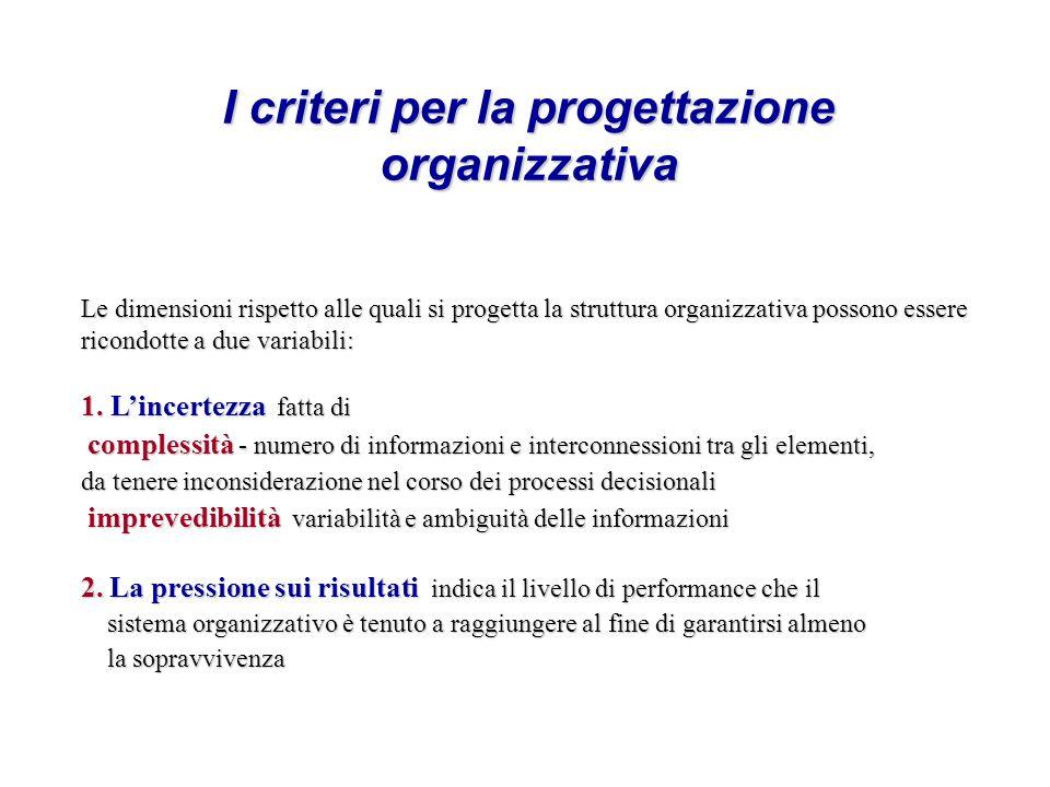 I criteri per la progettazione organizzativa Le dimensioni rispetto alle quali si progetta la struttura organizzativa possono essere ricondotte a due variabili: 1.