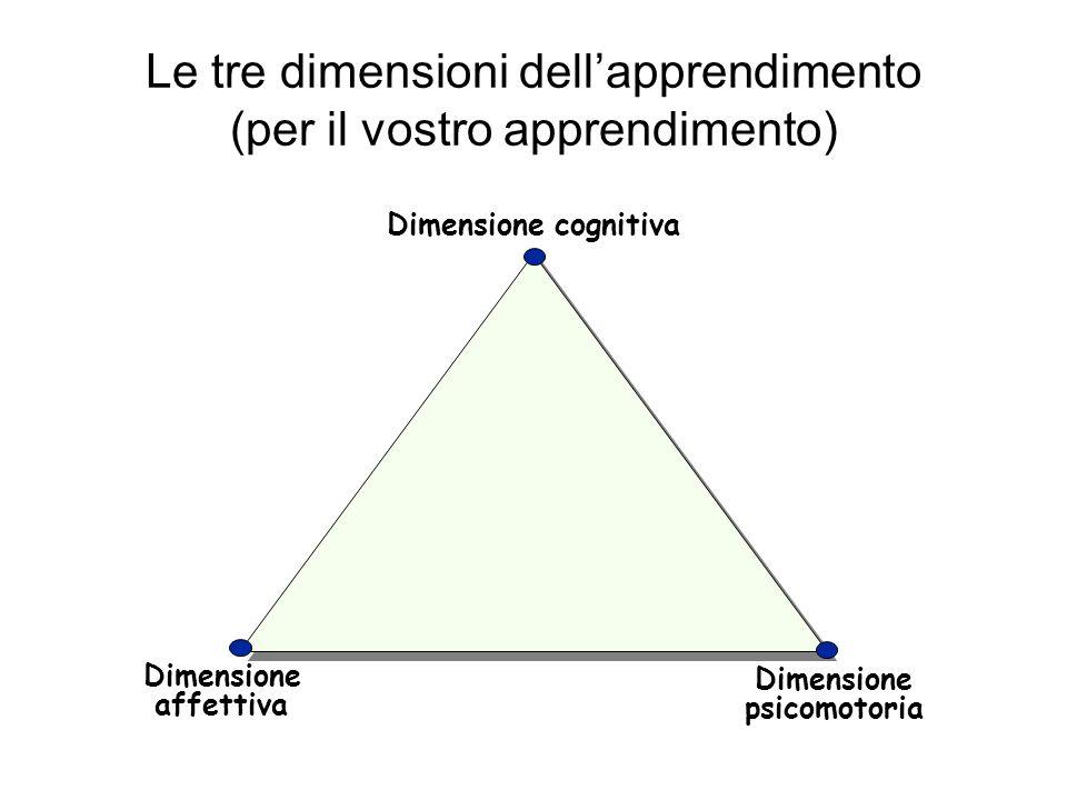 Le tre dimensioni dellapprendimento (per il vostro apprendimento) Dimensione cognitiva Dimensione affettiva Dimensione psicomotoria