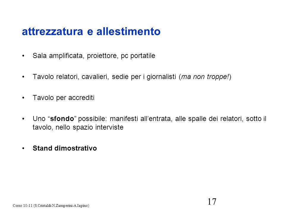 17 Sala amplificata, proiettore, pc portatile Tavolo relatori, cavalieri, sedie per i giornalisti (ma non troppe!) Tavolo per accrediti Uno sfondo pos