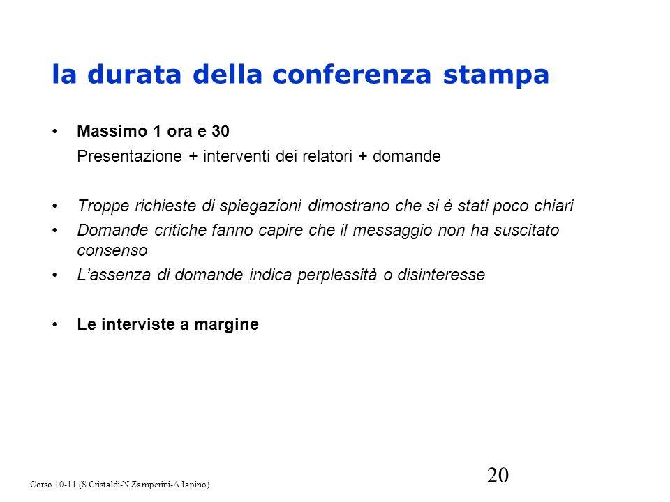 20 Massimo 1 ora e 30 Presentazione + interventi dei relatori + domande Troppe richieste di spiegazioni dimostrano che si è stati poco chiari Domande