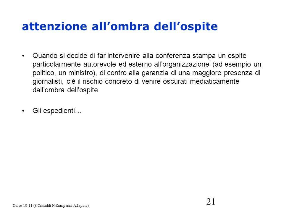21 Quando si decide di far intervenire alla conferenza stampa un ospite particolarmente autorevole ed esterno allorganizzazione (ad esempio un politic