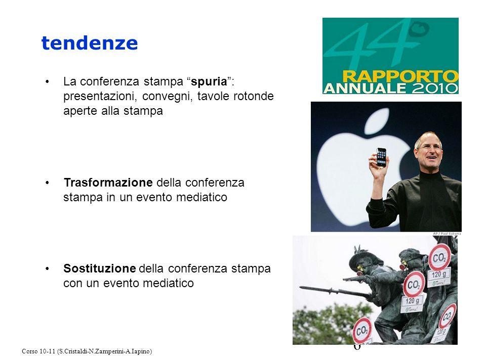 6 tendenze La conferenza stampa spuria: presentazioni, convegni, tavole rotonde aperte alla stampa Trasformazione della conferenza stampa in un evento