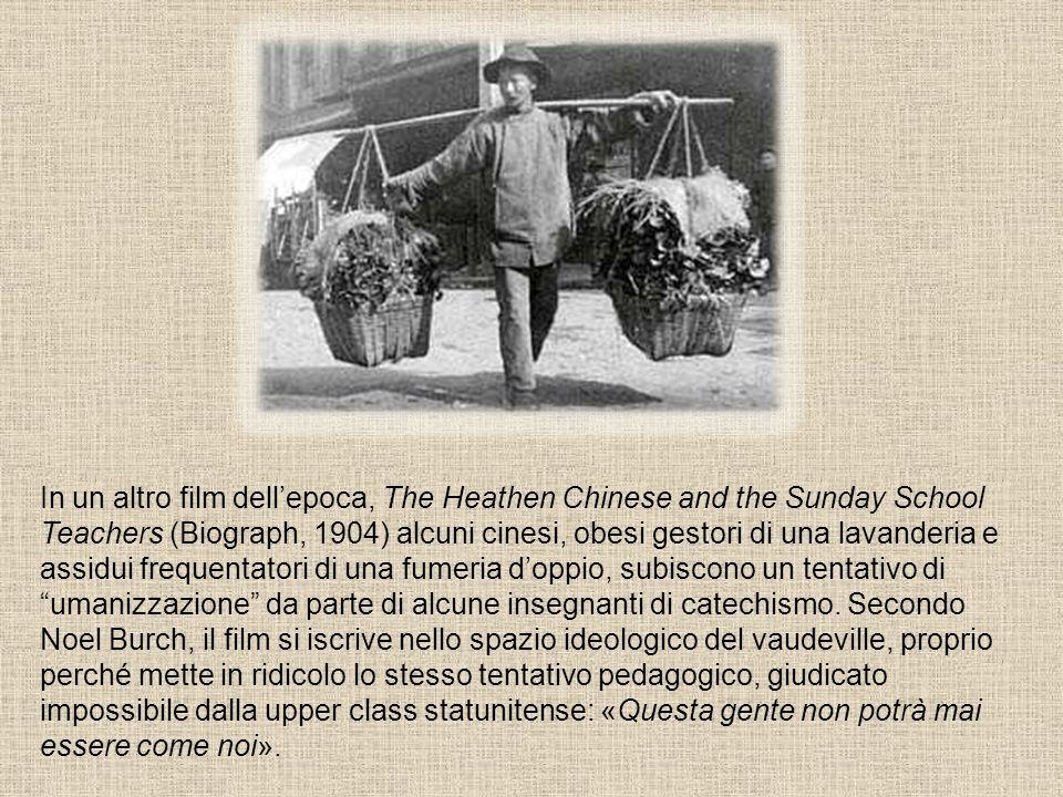 In un altro film dellepoca, The Heathen Chinese and the Sunday School Teachers (Biograph, 1904) alcuni cinesi, obesi gestori di una lavanderia e assid