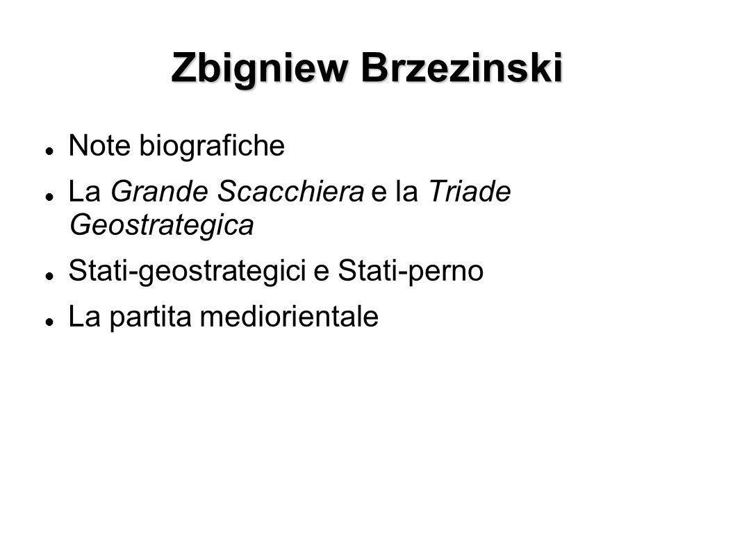 Zbigniew Brzezinski Note biografiche La Grande Scacchiera e la Triade Geostrategica Stati-geostrategici e Stati-perno La partita mediorientale