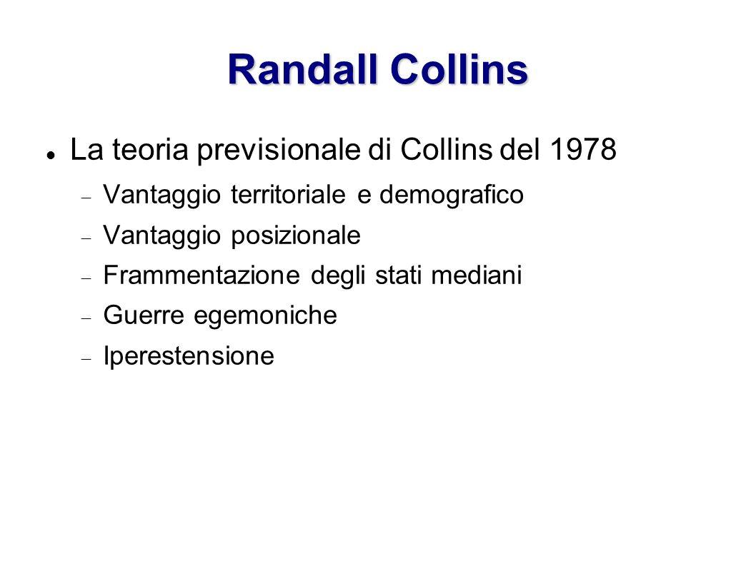 Randall Collins La teoria previsionale di Collins del 1978 Vantaggio territoriale e demografico Vantaggio posizionale Frammentazione degli stati media
