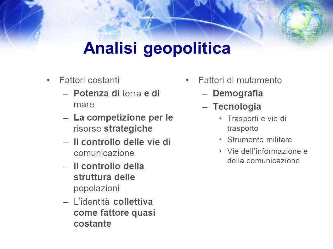 Analisi geopolitica Fattori costanti –Potenza di terra e di mare –La competizione per le risorse strategiche –Il controllo delle vie di comunicazione