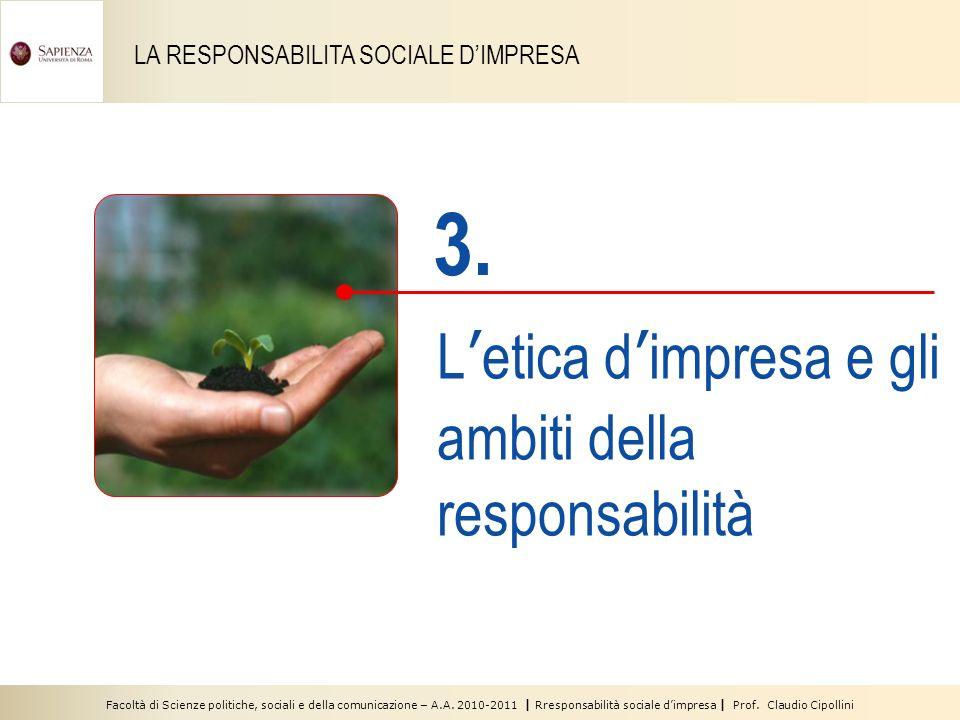 Facoltà di Scienze politiche, sociali e della comunicazione – A.A. 2010-2011 | Rresponsabilità sociale dimpresa | Prof. Claudio Cipollini LA RESPONSAB
