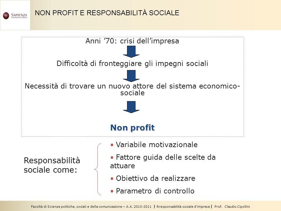 Facoltà di Scienze politiche, sociali e della comunicazione – A.A. 2010-2011 | Rresponsabilità sociale dimpresa | Prof. Claudio Cipollini Anni 70: cri