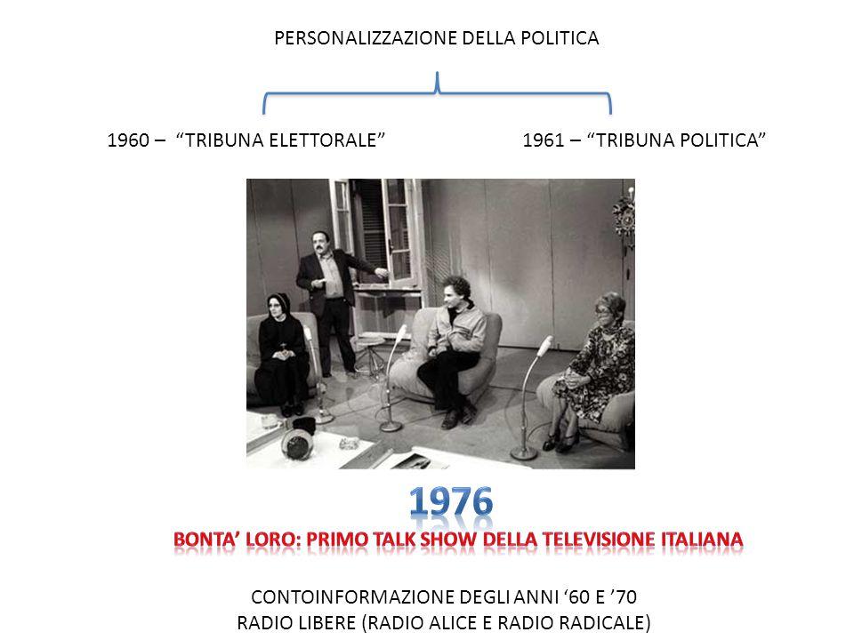 1960 – TRIBUNA ELETTORALE 1961 – TRIBUNA POLITICA PERSONALIZZAZIONE DELLA POLITICA CONTOINFORMAZIONE DEGLI ANNI 60 E 70 RADIO LIBERE (RADIO ALICE E RA