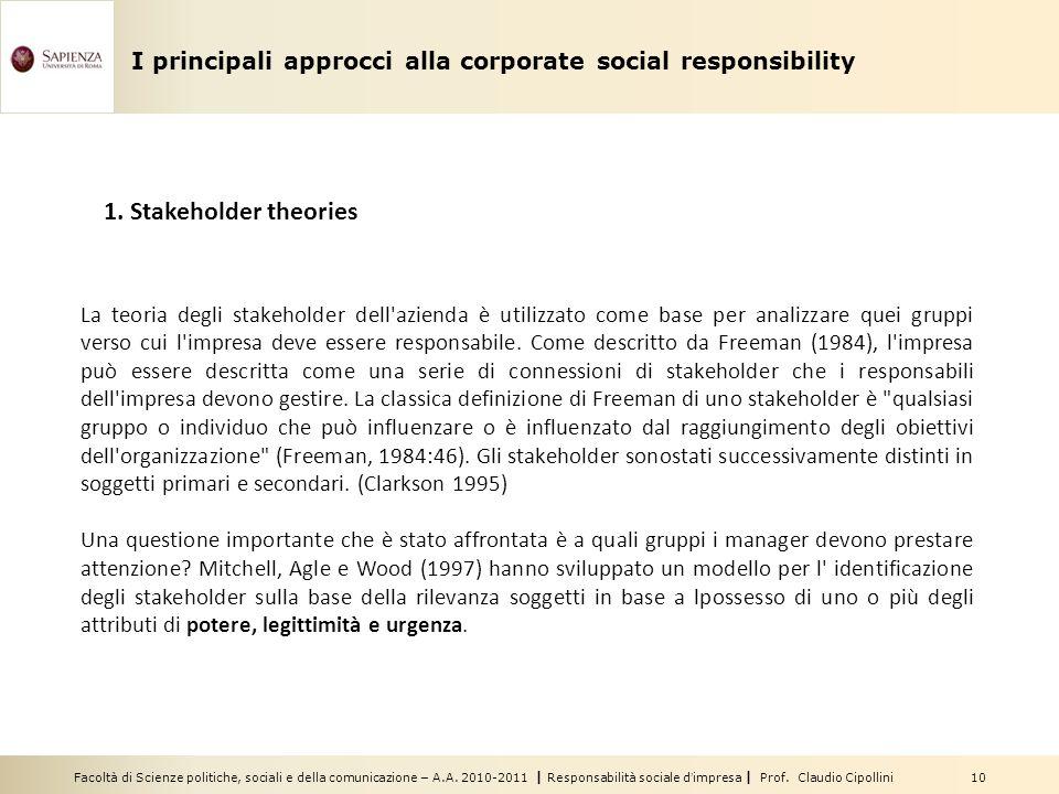 Facoltà di Scienze politiche, sociali e della comunicazione – A.A. 2010-2011 | Responsabilità sociale dimpresa | Prof. Claudio Cipollini 10 I principa