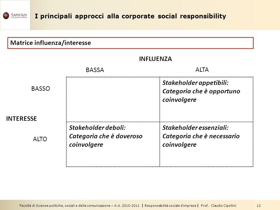 Facoltà di Scienze politiche, sociali e della comunicazione – A.A. 2010-2011 | Responsabilità sociale dimpresa | Prof. Claudio Cipollini 12 Stakeholde