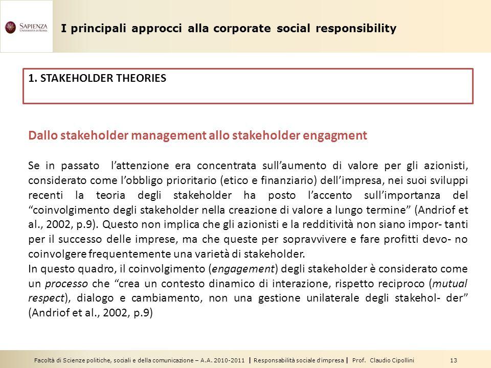 Facoltà di Scienze politiche, sociali e della comunicazione – A.A. 2010-2011 | Responsabilità sociale dimpresa | Prof. Claudio Cipollini 13 Dallo stak