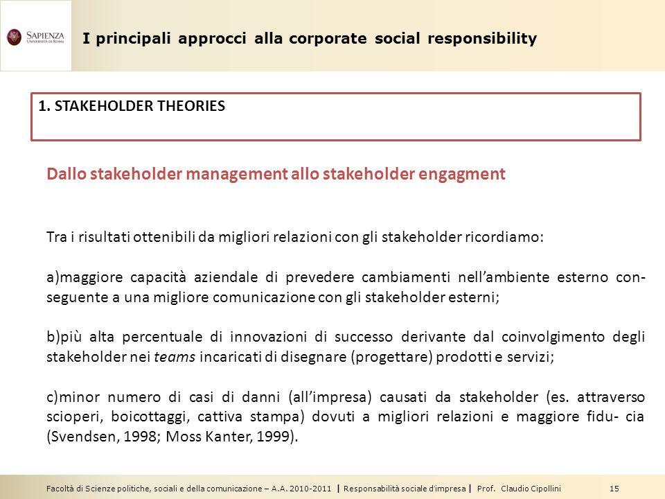 Facoltà di Scienze politiche, sociali e della comunicazione – A.A. 2010-2011 | Responsabilità sociale dimpresa | Prof. Claudio Cipollini 15 Dallo stak