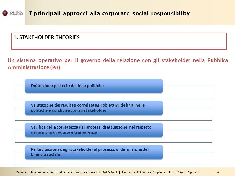 Facoltà di Scienze politiche, sociali e della comunicazione – A.A. 2010-2011 | Responsabilità sociale dimpresa | Prof. Claudio Cipollini 16 Un sistema