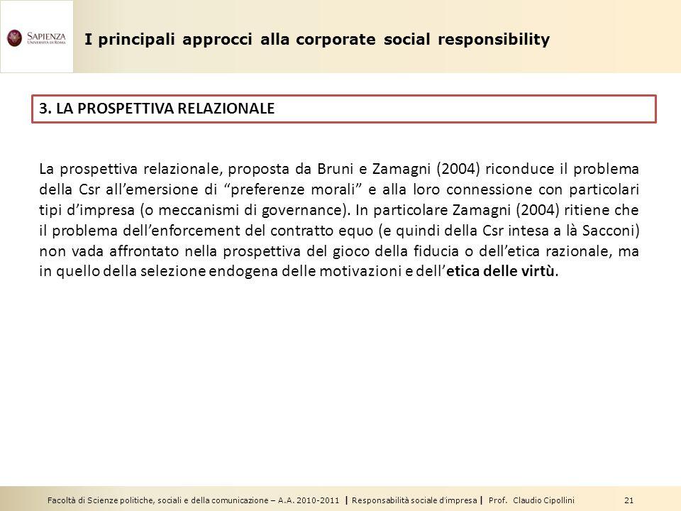 Facoltà di Scienze politiche, sociali e della comunicazione – A.A. 2010-2011 | Responsabilità sociale dimpresa | Prof. Claudio Cipollini 21 3. LA PROS