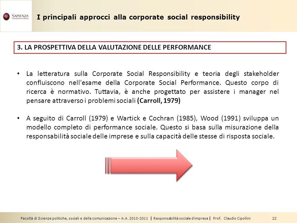 Facoltà di Scienze politiche, sociali e della comunicazione – A.A. 2010-2011 | Responsabilità sociale dimpresa | Prof. Claudio Cipollini 22 3. LA PROS