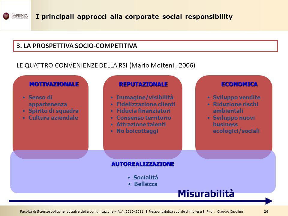 Facoltà di Scienze politiche, sociali e della comunicazione – A.A. 2010-2011 | Responsabilità sociale dimpresa | Prof. Claudio Cipollini 26 3. LA PROS
