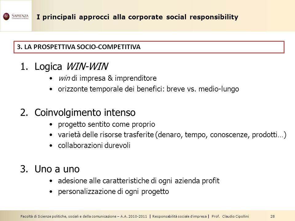Facoltà di Scienze politiche, sociali e della comunicazione – A.A. 2010-2011 | Responsabilità sociale dimpresa | Prof. Claudio Cipollini 28 3. LA PROS