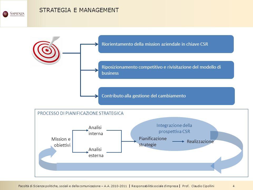 Facoltà di Scienze politiche, sociali e della comunicazione – A.A. 2010-2011 | Responsabilità sociale dimpresa | Prof. Claudio Cipollini 4 PROCESSO DI