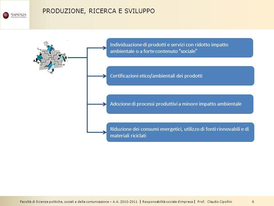 Facoltà di Scienze politiche, sociali e della comunicazione – A.A. 2010-2011 | Responsabilità sociale dimpresa | Prof. Claudio Cipollini 6 PRODUZIONE,