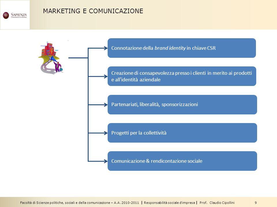 Facoltà di Scienze politiche, sociali e della comunicazione – A.A. 2010-2011 | Responsabilità sociale dimpresa | Prof. Claudio Cipollini 9 MARKETING E